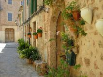 Street with flowers in Spain Royalty Free Stock Image