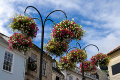 Street flowers, Truro. Street flowers in hanging baskets, Truro, Cornwall royalty free stock photography
