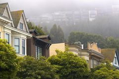 Street and Foggy Hillside Stock Photography