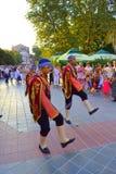 Street folk parade. Turkish folk dance group in national costumes at street parade.Picture taken on August 3rd,2014,Varna,Bulgaria Royalty Free Stock Photos