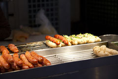 Street food. Taiwanese style sausage with sticky rice intestine Stock Photos