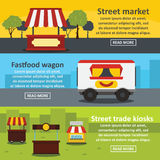 Street food banner horizontal set, flat style. Street food banner horizontal concept set. Flat illustration of 3 street food trade vector banner horizontal Royalty Free Stock Images