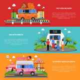 Street Food Banners Set. Street food horizontal banners set with pizza delivery van with sweets and ice-cream symbols flat isolated vector illustration Royalty Free Stock Image