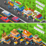 Street Food Banners Set. Street Food Isometric Concept. Food Car Horizontal Banners Set. Street Food Cart Vector Illustration. Street Food Truck Symbols. Street Royalty Free Stock Photo