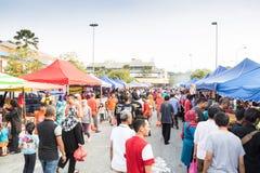 Street food bazaar in Malaysia catered for iftar during Ramadan. KUALA LUMPUR, MALAYSIA, June 7, 2016:  First day of Ramadan with food vendors at street bazaar Royalty Free Stock Photos