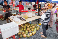 Street food bazaar in Malaysia catered for iftar during Ramadan. KUALA LUMPUR, MALAYSIA, June 7, 2016:  First day of Ramadan with food vendors at street bazaar Stock Photos
