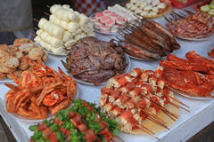 Street food, bbq on street side Royalty Free Stock Images