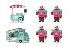 Street food and beverages funny hawker. Cartoon vector illustration. Seller or chef character. Big and fat person in uniform Royalty Free Stock Photography