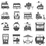 Street Food Black White Icons Set. With pop corn fresh juice and sweets symbols flat isolated vector illustration Stock Photos