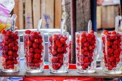 Street food in Burmese market , Myanmar. Strawberries in glasses for smoothies in Burmese market, Myanmar. Myanmar is one of the mysterious country in South East royalty free stock images