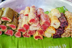 Street food in Burmese market, Myanmar. Burmese sweet rice cakes in Burmese market, Myanmar. Myanmar is one of the mysterious country in South East Asia and royalty free stock image