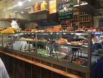 Street food cafe in the new Sarona Market, Tel Aviv, Israel. stock photo