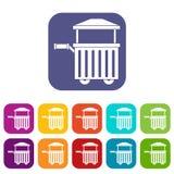 Street food cart icons set flat Royalty Free Stock Photography
