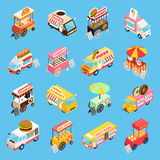 Street Food Carts Isometric Icons Set. Street food trucks and carts selling hot dogs and wok dishes isometric icons set abstract  vector illustration Stock Images