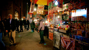 Street Food Carts in Manhattan. Street Food Carts in walkside, in Manhattan at night royalty free stock images