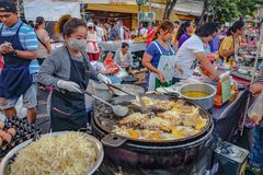 Street Food Chef Cooking Thailand Street Food `hoi top` or Crispy Mussel and Beansprout Pancake in english name. Bangkok/Thailand - 1 January 2016: Street Food royalty free stock photo