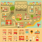 Street Food on City Map. Food carts on Infographic Card. Sellers and Trucks with Food. Vector Illustration Stock Photo