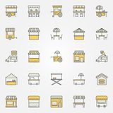 Street food colorful icons. Vector design elements. Street food colorful icons. Vector food cart, market stall, food truck and mobile cafe creative signs or Royalty Free Illustration