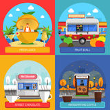 Street Food Concept Icons Set Royalty Free Stock Images