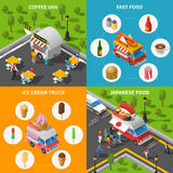 Street Food Concept Icons Set Stock Photography