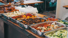 Street Food on the Counter Market stock video footage