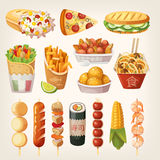 Street food from different countries of the world. Set of colorful takeaway food that is sold at every cornor Stock Photos