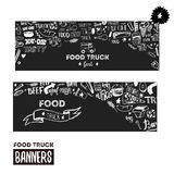Street food festival banner set. Hand drawn lettering with doodles on dark background. Food truck promotion design Stock Photography