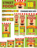 Street Food Festival Banners Set. Standard web sizes vector templates Royalty Free Stock Photo