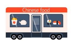 Street food festival chinese trailer vector restaurant car. Stock Photos