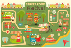 Street Food Festival. On City Map. Food carts on Infographic Card. Sellers and Trucks with Food. Mexican, Italian, Greek, French Cuisine. Vector Illustration Stock Photo