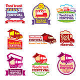 Street food festival color labels vector set. Street food festival color labels set. Cafe urban, mobile market, event and transport, vector illustration Royalty Free Stock Photo