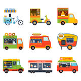 Street food festival color trailer vector restaurant car. Royalty Free Stock Images
