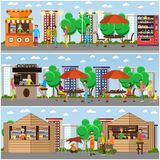 Street food festival concept vector banner. People sell from stalls in park. Street food festival concept vector banner. People sell food from stalls in park Stock Photography
