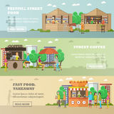 Street food festival concept vector banners. People sell products from stalls Stock Images