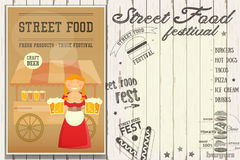 Street Food Festival. Street Food and Fast Food, Truck Festival - Beer Stall. Template Design. Poster on White Wooden Background with Text. Vector Illustration Royalty Free Stock Photo