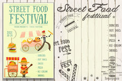 Street Food Festival. Street Food and Fast Food, Truck Festival - French and Mexican Stall. Retro Template Design. Poster on White Wooden Background with Text Royalty Free Stock Photo