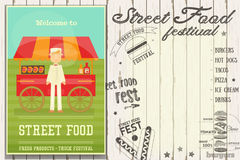 Street Food Festival. Street Food and Fast Food, Truck Festival - Hot Dog Stall. Template Design. Retro Poster on White Wooden Background with Text. Vector Royalty Free Stock Image