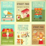 Street Food Festival. Street Food and Fast Food, Truck Festival on Mini Posters Set. Template Design. Vector Illustration Stock Image