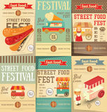 Street Food Festival. Street Food and Fast Food, Truck Festival on Posters Set. Template Design. Advertising Ice cream, Beer and Hot dogs. Vector Illustration Stock Images