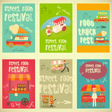 Street Food Festival. Street Food and Fast Food, Truck Festival on Posters Set. Template Design. Vector Illustration Royalty Free Stock Images