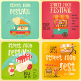 Street Food Festival. Street Food and Fast Food, Truck Festival on Square Posters Set. Template Design. Vector Illustration Royalty Free Stock Photography