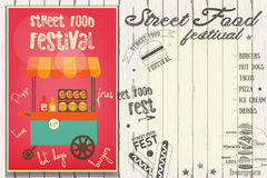 Street Food Festival. Fast Food Truck. Template Design. Poster on White Wooden Background with Text. Vector Illustration Stock Images