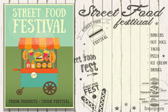 Street Food Festival. Fast Food Truck. Template Design. Retro Poster on White Wooden Background with Text. Vector Illustration Stock Photos