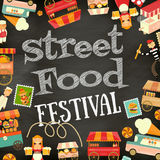 Street Food Festival. Street Food and Fast Food, Truck Festival on Vintage Retro Poster. Blackboard with Chalk Text Background. Template Design. Vector Royalty Free Stock Images