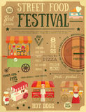 Street Food Festival. Street Food and Fast Food, Truck Festival on Vintage Retro Poster. Template Design. Vector Illustration Royalty Free Stock Photos