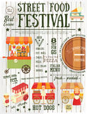 Street Food Festival. Street Food and Fast Food, Truck Festival on Vintage Retro Poster. White Wooden Background. Template Design. Vector Illustration Stock Image