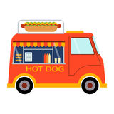 Street food festival hot dog trailer vector restaurant car. Royalty Free Stock Photography