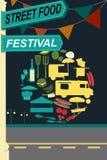 Street food festival pamphlet. A vector illustration of street food festival pamphlet design stock illustration