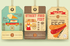 Street Food Festival Price Tags. Street Food and Fast Food, Truck Festival on Price Tags in Retro Style. Template Design. Advertising Ice cream, Beer and Hot Stock Photos