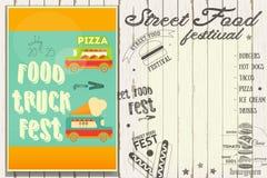 Street Food Festival. Street Food and Truck Festival on Poster. Template Design. Vector Illustration Stock Image